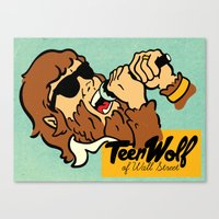 wolf of wall street Canvas Prints featuring Teen Wolf of Wall Street by Derek Eads