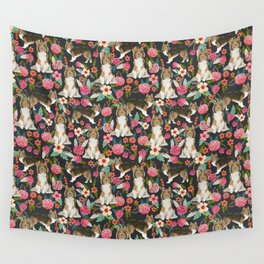 Sheltie dog lover gifts shetland sheep dog must have unique pet portrait florals dog pattern Wall Tapestry