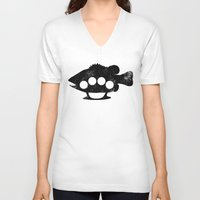 bass V-neck T-shirts featuring Bass Knuckles by Jonah Makes Artstuff