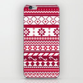 Red Fair Isle Christmas Pattern iPhone Skin