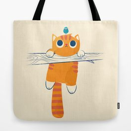 Fat cat, little bird Tote Bag