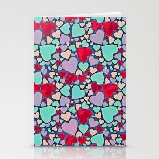 Sweet hearts mosaic pattern Stationery Cards