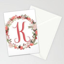 Personal monogram letter 'K' flower wreath Stationery Cards