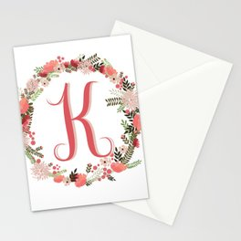 Personal monogram letter 'K' flower wreath Stationery Cards
