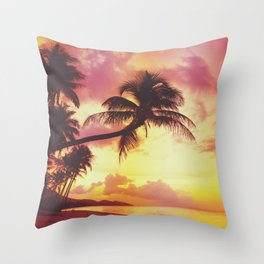 Beautiful tropical sunset with palm trees silhoette at beach, retro stylized Throw Pillow