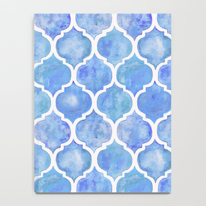 Cornflower Blue Moroccan Hand Painted Watercolor Pattern Notebook
