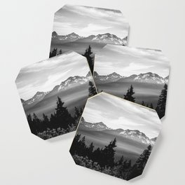 Morning in the Mountains Black and White Coaster