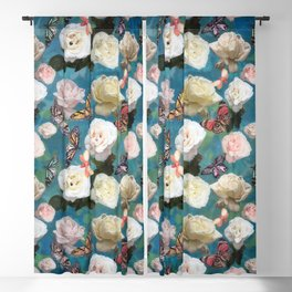 White Roses and Butterflies Blackout Curtain