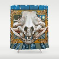 history Shower Curtains featuring Natural History by Valerie Anderson Art