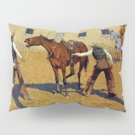 "Frederic Remington Western Art ""His First Lesson"" Pillow Sham"
