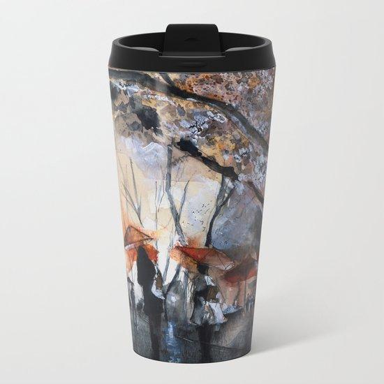 Watercolor painting - Autumn rain - Metal Travel Mug
