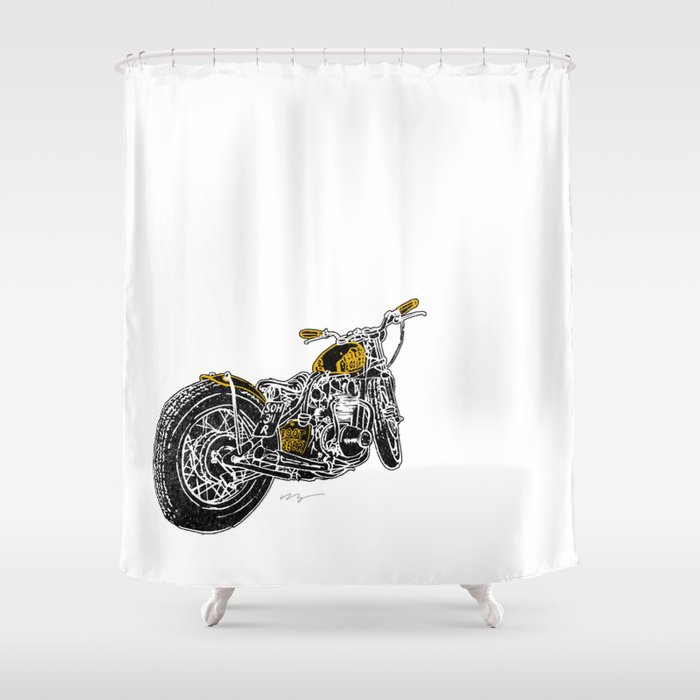 Rootbeer Bobber Custom Motorcycle Shower Curtain