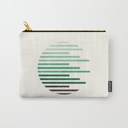 Mid Century Modern Minimalist Circle Round Photo Aquamarine Teal Green Staggered Stripe Pattern Carry-All Pouch