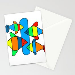 4 Fish - Black lines Stationery Cards
