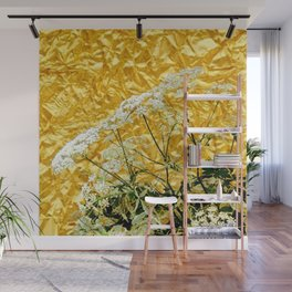 GOLDEN LACE FLOWERS FROM SOCIETY6 BY SHARLESART. Wall Mural