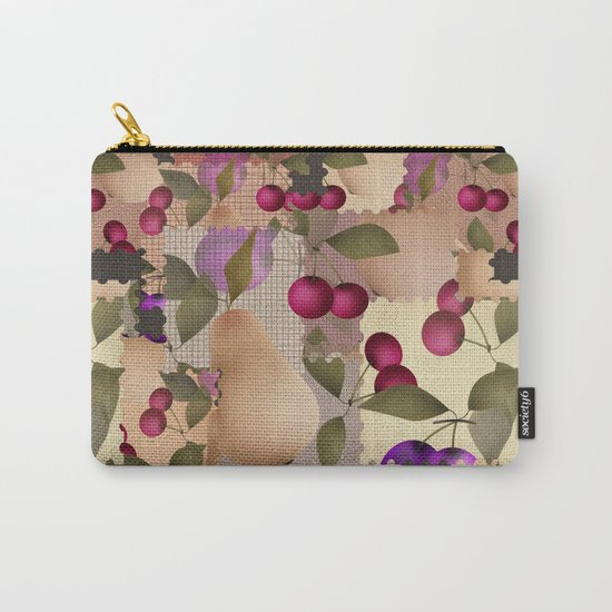 Old scraps of fabric with fruit . Carry-All Pouch