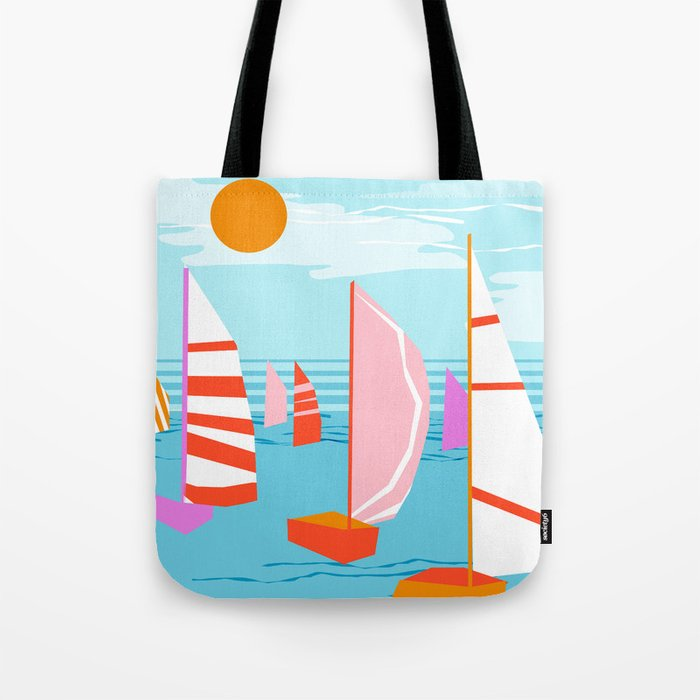 Quepasa - memphis throwback retro minimal modern neon boating yacht club sailing summer sport Tote Bag