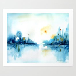 watercolor abstract landscape Art Print