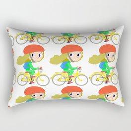 girl on a yellow bicycle Rectangular Pillow