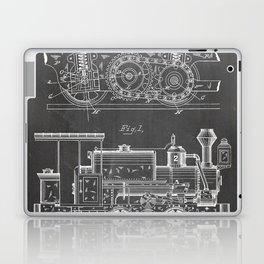 Steam Train Patent - Steam Locomotive Art - Black Chalkboard Laptop & iPad Skin
