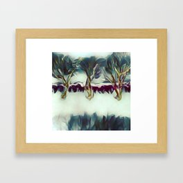 3 Winter Trees Deep Maroon Purple by CheyAnne Sexton Framed Art Print
