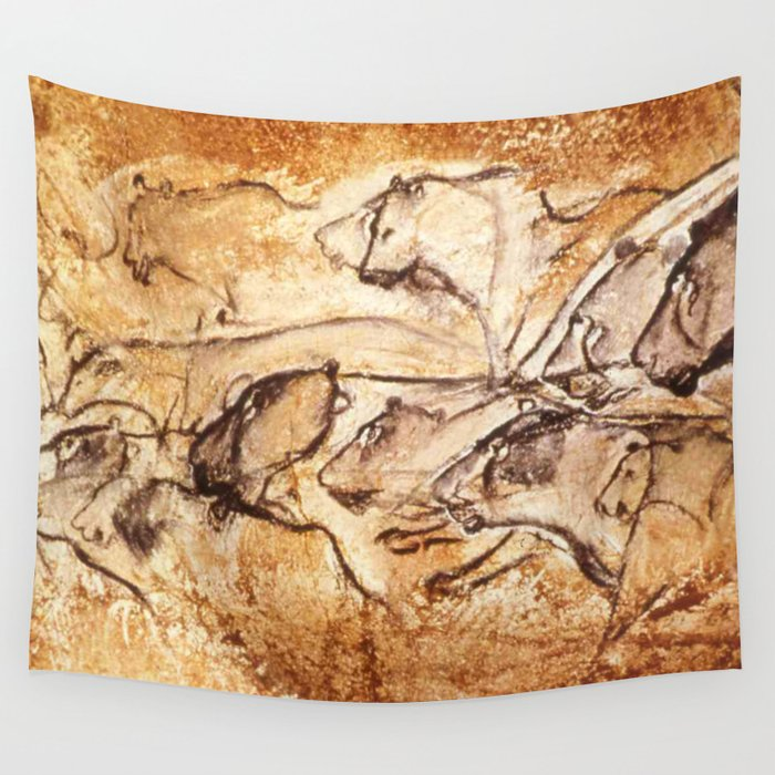 Panel Of Lions Chauvet Cave Wall Tapestry By Thinlinetextiles Society6