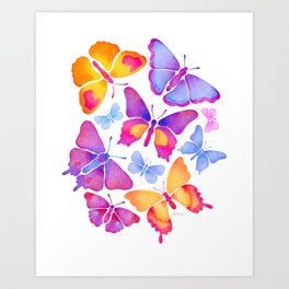 Colorful Butterfly Watercolor Art Print