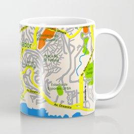Salvador, Brasil Map Design Coffee Mug