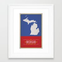 michigan Framed Art Prints featuring MICHIGAN by Matthew Justin Rupp