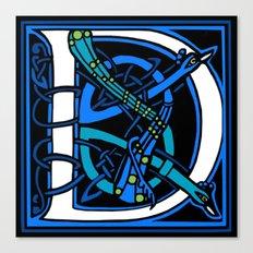 Celtic Peacocks Letter D Canvas Print