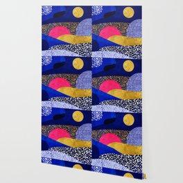 Terrazzo galaxy blue night yellow gold pink Wallpaper