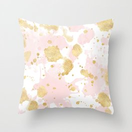 Blush Pink Gold Splatters Abstract Throw Pillow