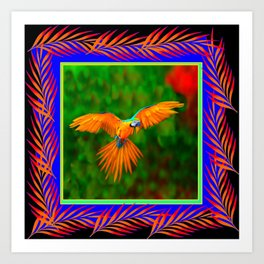 Decorative Flying Golden Blue Macaw Parrot  Black Green  Art Art Print