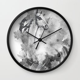 HORSE AND CHERRY BLOSSOMS IN BLACK AND WHITE Wall Clock