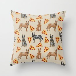 Australian Cattle Dog pizza slice pet friendly dog breed dog pattern art Throw Pillow