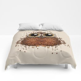 Coffee beans and cups forming owl Comforters