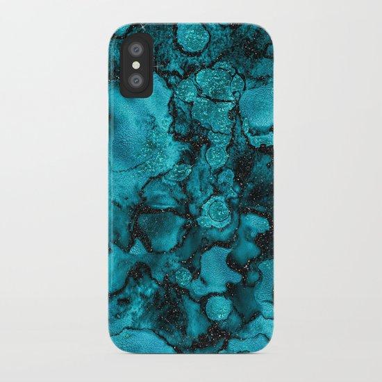 Blue Gemstone and Ink Malachite Glitter Marble by originalaufnahme