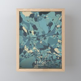 Espoo, Finland - Cream Blue Framed Mini Art Print