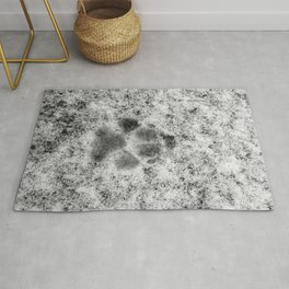 Paw Print in Snow Rug