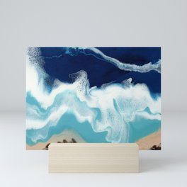 Tsambou, Samos beach, Greece, Resin abstract painting, Seascape art Mini Art Print