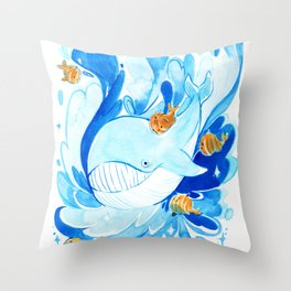 Whale and baby pumpkin whale Throw Pillow