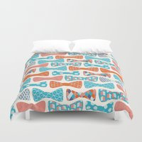 bows Duvet Covers featuring Geometric Bows by Wild Notions