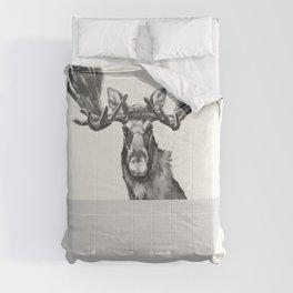 Vintage Moose in Bathtub Comforters