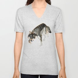 Totem Dark European Wolf Unisex V-Neck