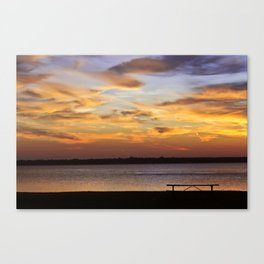 Sitting on the Bench by the Lake Canvas Print