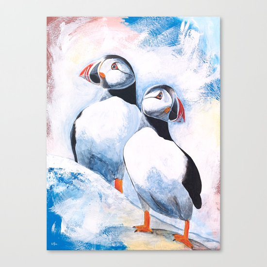 Puffins - I watch over you, little brother - by LiliFlore Canvas Print