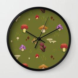 Pixel Mushrooms on Green Wall Clock