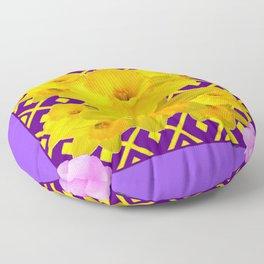 Purple Pattern Yellow Daffodils Pink Roses Art Floor Pillow