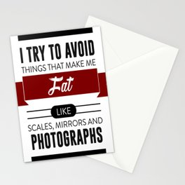 Scales Mirrors Photographs Make Me Fat Stationery Cards