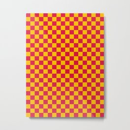 Amber Orange and Crimson Red Checkerboard Metal Print